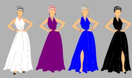 Elegant ladies in gowns and jewels Royalty Free Stock Image
