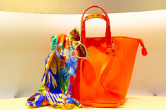Elegant ladies shoes and handbag. Elegant ladies shoes, scarf, sunglasses and handbag on display Stock Image