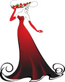 Elegant lady. Woman in gloves and an elegant long red dress Royalty Free Stock Images