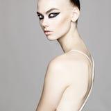 Elegant  lady with art makeup Stock Photos