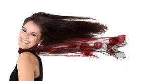 Elegant lady with blown hairs Stock Image