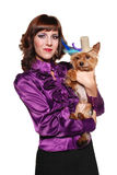 Elegant lady with cute little dog Royalty Free Stock Photography