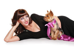 Elegant lady with cute little dog Stock Image