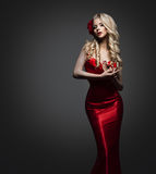 Elegant Lady Dress, Fashion Model in Red Gown, Beautiful Woman stock image