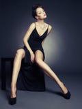 Elegant lady in evening dress stock images