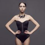 Elegant lady. Fashion photo of beautiful lady wear elegant necklace Royalty Free Stock Image