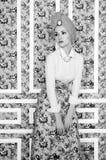 Elegant lady on floral background Royalty Free Stock Photos