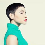 Elegant lady with short hairstyle Royalty Free Stock Photos