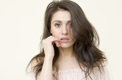 Elegant  lady with stylish long hairstyle looks ahead Stock Image