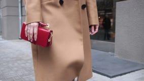 Elegant lady walking alone in the street stock video footage