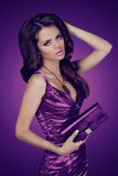 Elegant lady woman in dress with bag. Jewelry Royalty Free Stock Image