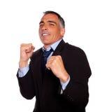 Elegant latin business man boxing Royalty Free Stock Photography