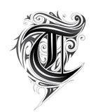 Elegant letter font T. Decorative letter shape. Font type T in tribal style Stock Image
