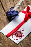 Elegant letter with red sealant and blue ink stock photos