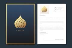 Elegant letterhead template design in minimalist style with Logo. Golden luxury business design for cover, banner. Invitation, letterhead, branding card royalty free illustration