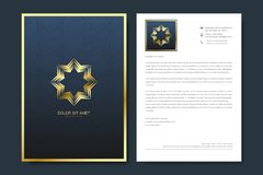 Elegant letterhead template design in minimalist style with Logo. Golden luxury business design for cover, banner royalty free illustration
