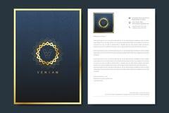 Elegant letterhead template design in minimalist style with Logo. Golden luxury business design for cover, banner stock illustration