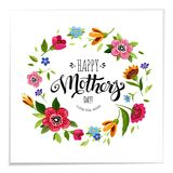 Lettering Happy Mothers Day in flower frame Stock Images