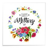 Lettering Happy Mothers Day in flower frame Royalty Free Stock Image