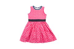 Elegant light children summer dresse. Pink on white dots Royalty Free Stock Photos