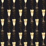 Elegant light seamless pattern with sparkling wine glasses Stock Photo