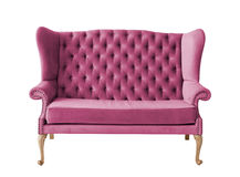 Elegant lilac sofa chair isolated on white Stock Images