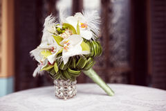 Elegant lily bouquet on table Royalty Free Stock Photography