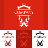 Elegant Line Art Blue Blazon in Red colors Royalty Free Stock Image