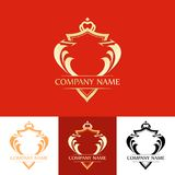 Elegant Line Art Red Blazon. Vector Emblem isolated on different colors Stock Images