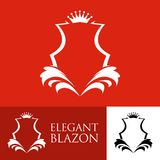 Elegant Line Art Red Blazon. Vector Emblem Royalty Free Stock Photos