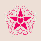 Elegant line art vector illustration for Valentines Day. Floral Stock Photography