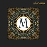 Vector golden monogram. Luxurious decorative frame. stock illustration