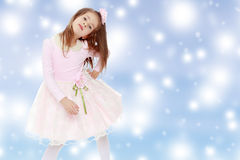 Elegant little girl in a pink dress. Royalty Free Stock Images
