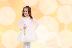 Elegant little girl in a pink dress. Stock Photography
