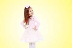 Elegant little girl in a pink dress. Stock Image