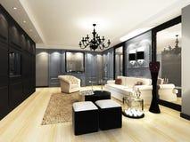 Elegant Living room. Design in 3D rendering Royalty Free Stock Photos