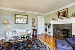 Elegant living room with fireplace and antique couch. Real Estat Royalty Free Stock Photography