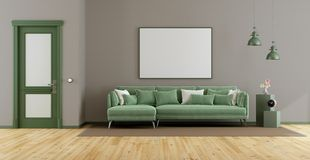 Elegant living room with green sofa. Closed door and blank frame - 3d rendering stock illustration