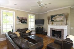Elegant livingroom with flatscreen Royalty Free Stock Image