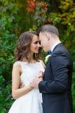 Elegant lockig brud och stilfull brudgum Royaltyfria Bilder