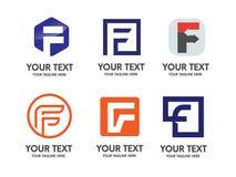 Elegant logo för bokstav F royaltyfri illustrationer