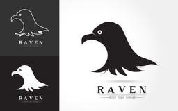 Elegant logo of raven. And  crow silhouette design symbol on white background , vector illustration Royalty Free Stock Photo