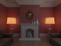 Elegant lounge room. Image of a fireplace between two lamp stands and elegant sofa's vector illustration