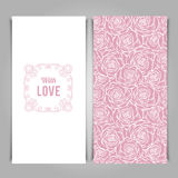 Elegant With Love card template with rose pattern. Royalty Free Stock Images