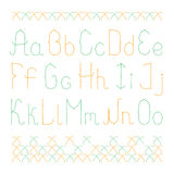 Elegant lowercase english alphabet with cross stitch Stock Image