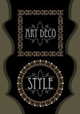 Elegant luxurious golden frames, square and circle shapes in art deco style, useful for leaflet, flyer, product package decoration. Vector EPS 10 royalty free illustration