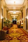 Elegant Luxurious Hallway Upscale Ritsy Hotel Carpeting Lights I. Lluminated Warm Cozy stock images