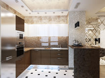 Elegant and luxurious modern kitchen interior design. 3d render Royalty Free Stock Photography