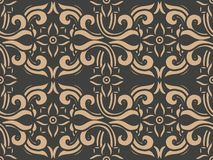Vector damask seamless retro pattern background spiral curve cross frame flower vine. Elegant luxury brown tone design for wallpapers, backdrops and page fill vector illustration