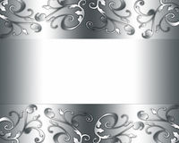 Elegant luxury card. Elegant silver plated design with floral borders stock illustration